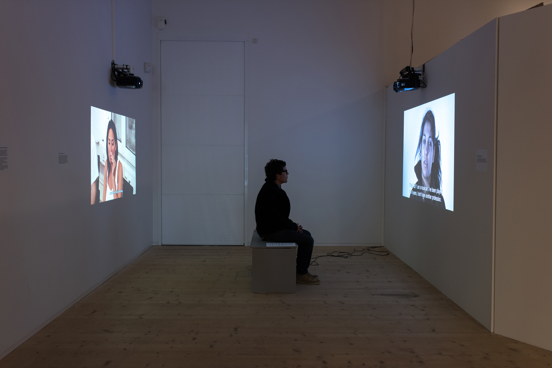 Two videos shown as an installation, above, in Varbergs Konsthall, Sweden, October 2014–January 2015.