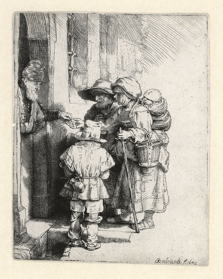 "Etsning av Rembrandt van Rijn, ""Beggars Receiving Alms at the Door of a House"", 1648."